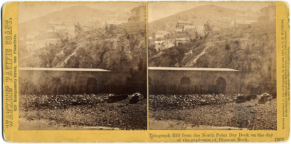 Watkins #1363 - Telegraph Hill from the North Point Dry Dock on the day of the explosion of Blossom Rock