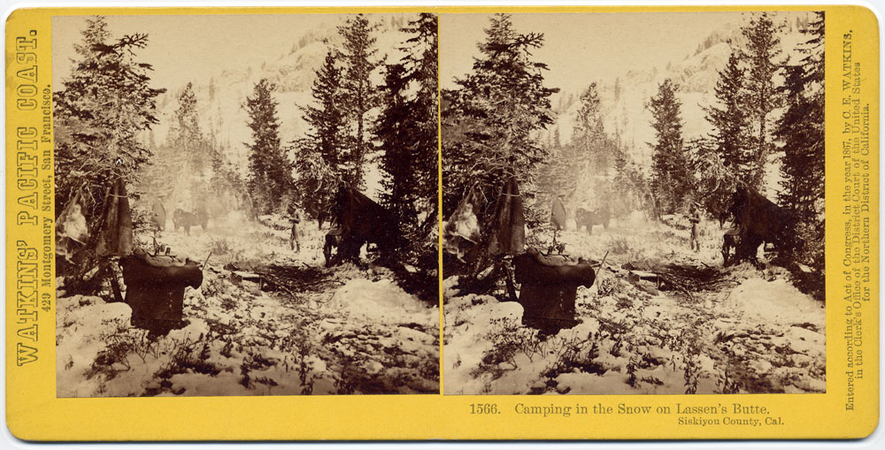 Watkins #1566 - Camping in the snow on Lassen's Butte, Siskiyou County, Cal.