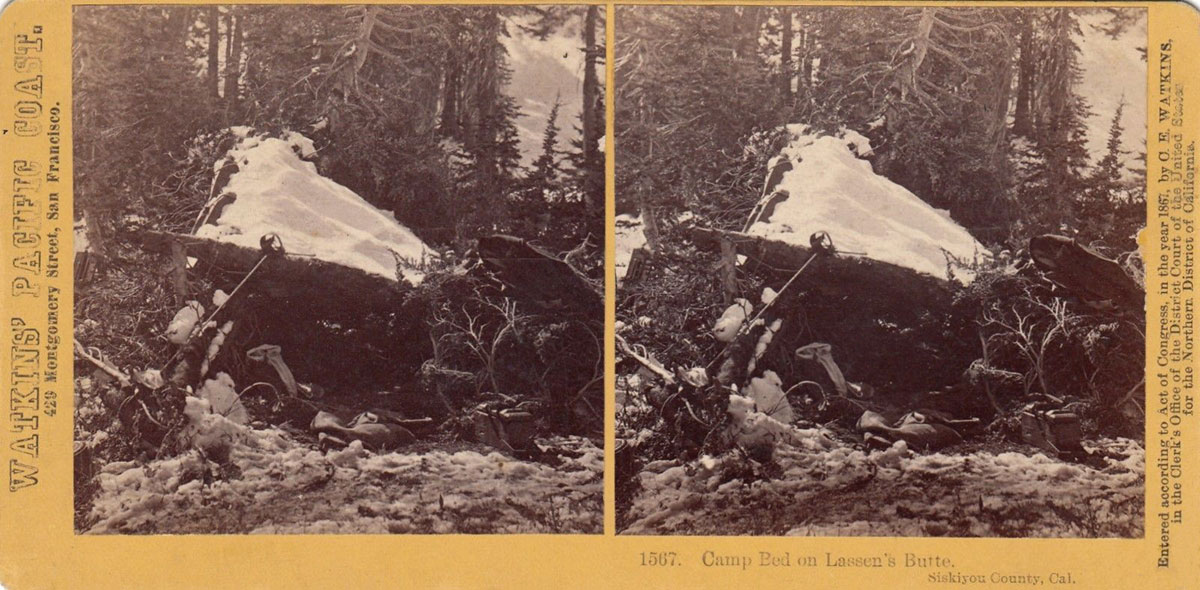 Watkins #1567 - Camp Bed on Lassen's Butte, Siskiyou County, Cal.