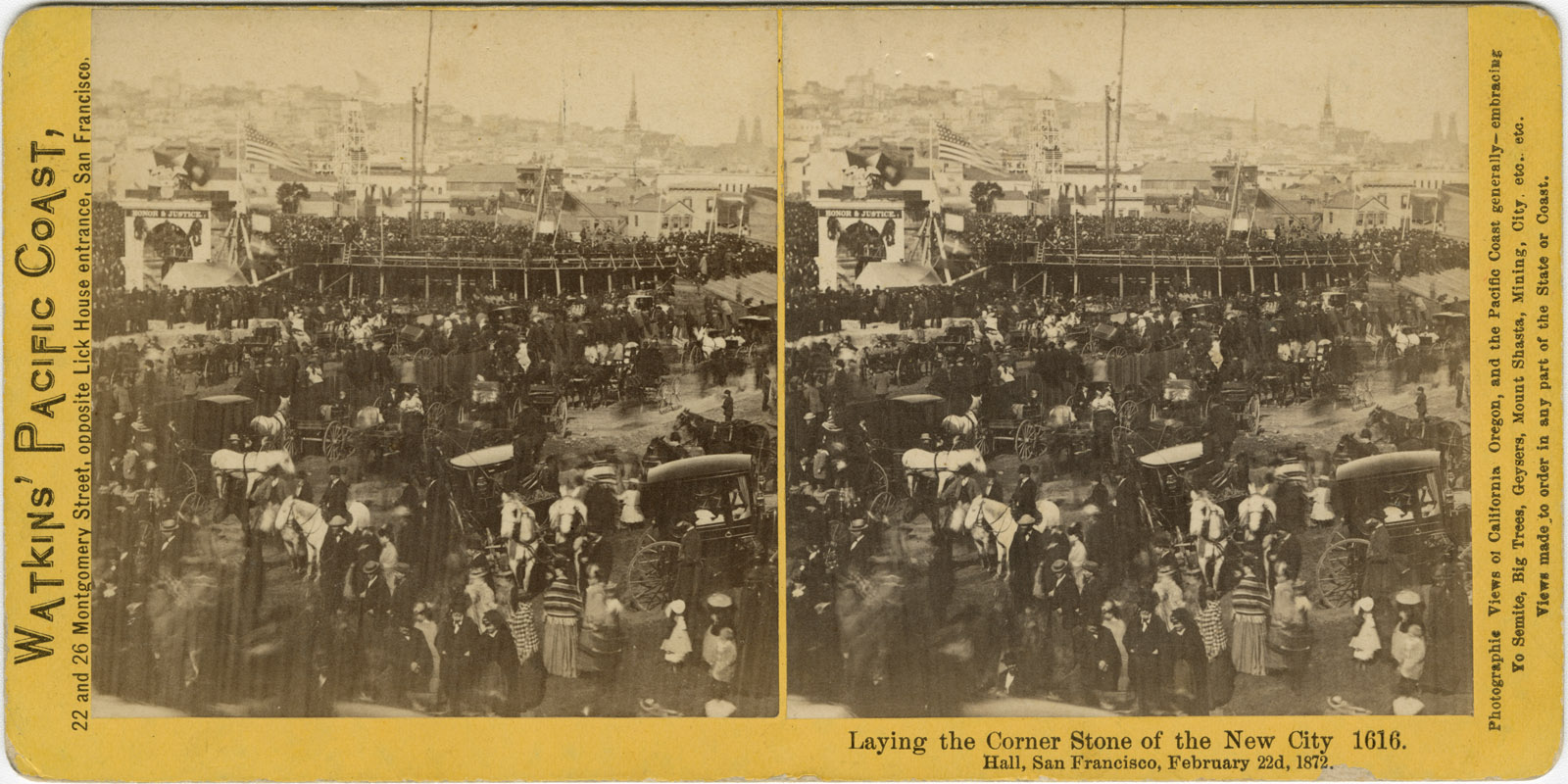 Watkins #1616 - Laying the Corner Stone of the New City Hall, San Francisco, February 22d, 1872