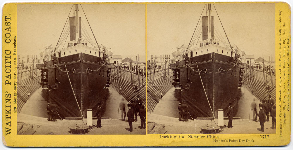 Watkins #1717 - Docking the Steamer China, Hunter's Point Dry Dock