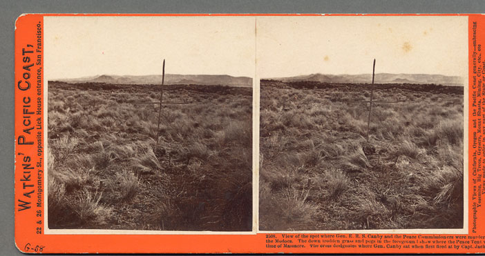 Watkins #2508 - View of the spot where Gen. E.R.S. Canby and the Peace Commissioners were murdered by / the Modocs. The down trodden grass and pegs in the foreground show where the Peace Tent was at / time of Massacr