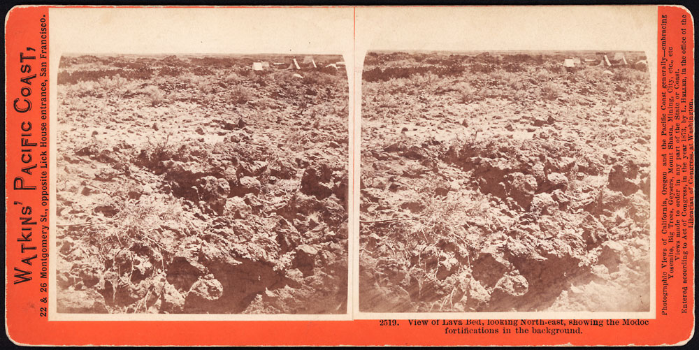 Watkins #2519 - View of Lava Bed, looking North-east, showing the Modoc fortifcations in the backgroiund.