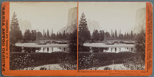 #3012 - El Capitan and Cathedral Rocks. View down the Valley, Yosemite Valley, Mariposa Co., Cal.