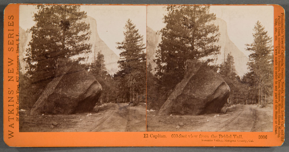 Watkins #3006 - El Capitan, 600-foot view from the Bridal Veil, Yosemite Valley, Mariposa County, Cal.