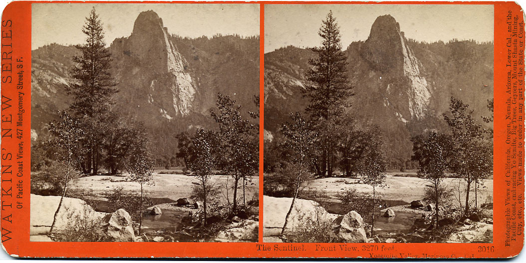 Watkins #3016 - The Sentinel. Front View. 3270 feet. Yosemite Valley, Mariposa County, Cal.