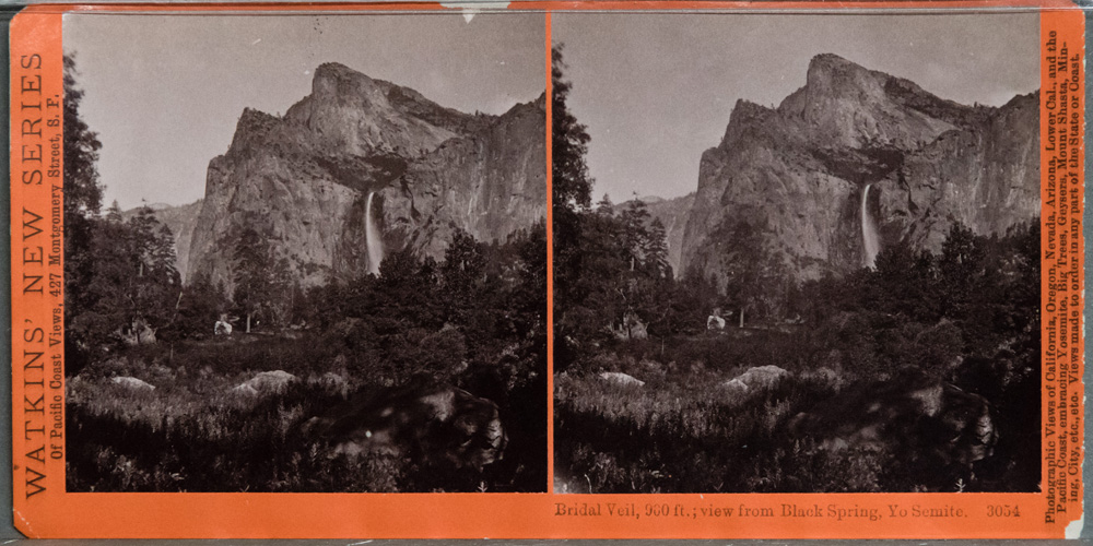 Watkins #3054 - The Bridal Veil, 900 ft; view from Black Spring, Yo Semite.