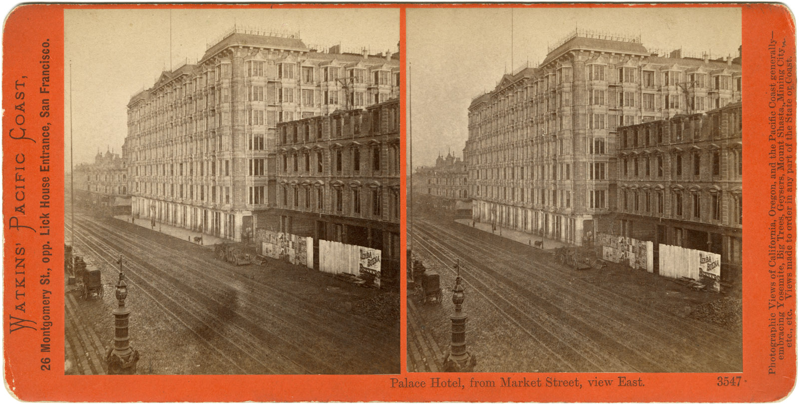 Watkins #3547 - Palace Hotel, from Market Street, view East.