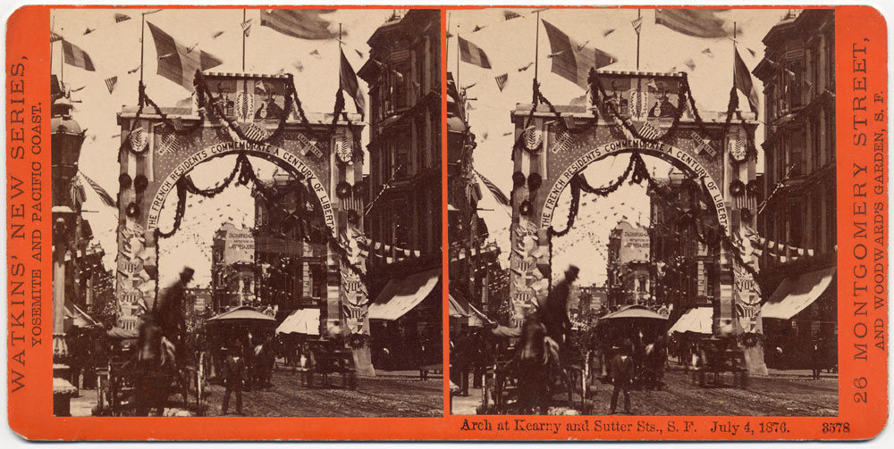 Watkins #3578 - Arch at Kearny and Sutter Sts., S.F., July 4, 1876.