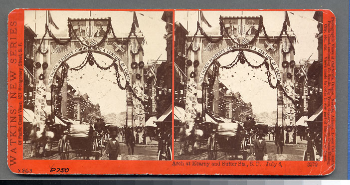 Watkins #3579 - Arch at Kearny and Sutter Sts., S.F., July 4, 1876.