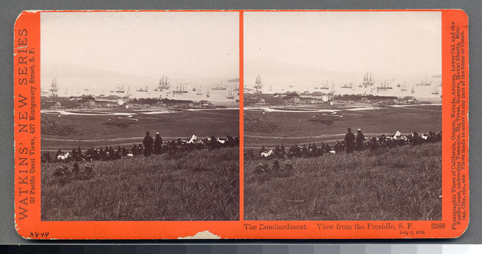 Watkins #3588 - The Bombardment, View from the Presidio, July 3, 1876.