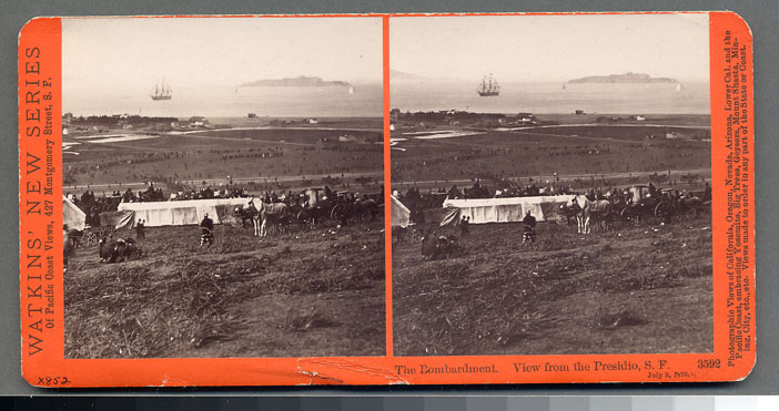 Watkins #3592 - The Bombardment, View from the Presidio, July 3, 1876.