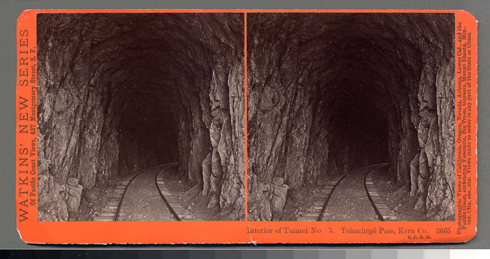 Watkins #3665 - Interior of Tunnel No. 10, Tehachapi Pass, Kern Co., S.P.R.R.