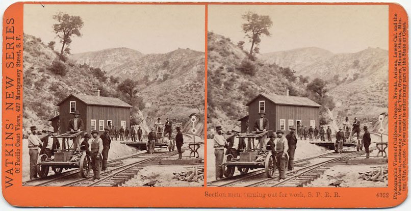Watkins #4322 - Section Men, turning out for work, S.P.R.R., Cal.