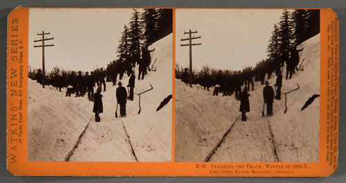 #E36 - Clearing the Track, Winter of 1884-85, Columbia River, Oregon