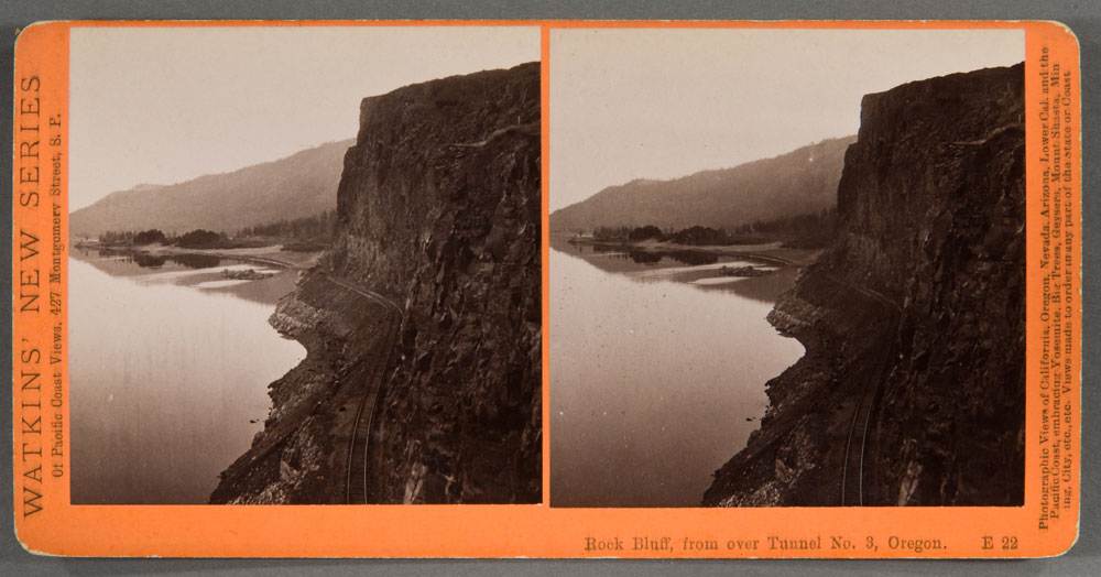 Watkins #E22 - Rock Bluff from over Tunnel #3, Columbia River, Oregon