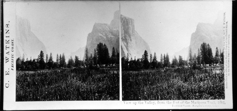 Watkins #1001 - View up the Valley, from the foot of the Mariposa Trail, Yosemite Valley, Mariposa County, Cal.