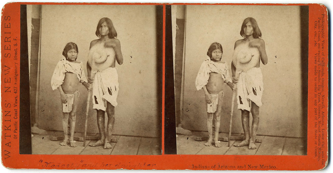 Watkins Unnumbered View - Modesty and her daughter.  Indians of Arizona and New Mexico.