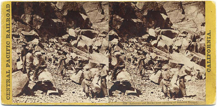 Watkins #119 - Laborers and Rocks near opening of Summit Tunnel
