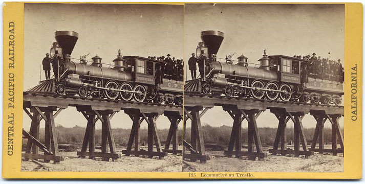 Watkins #135 - Locomotive on Trestle
