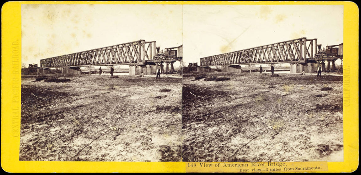 Watkins #148 - View of American River Bridge, 3 miles from Sacramento