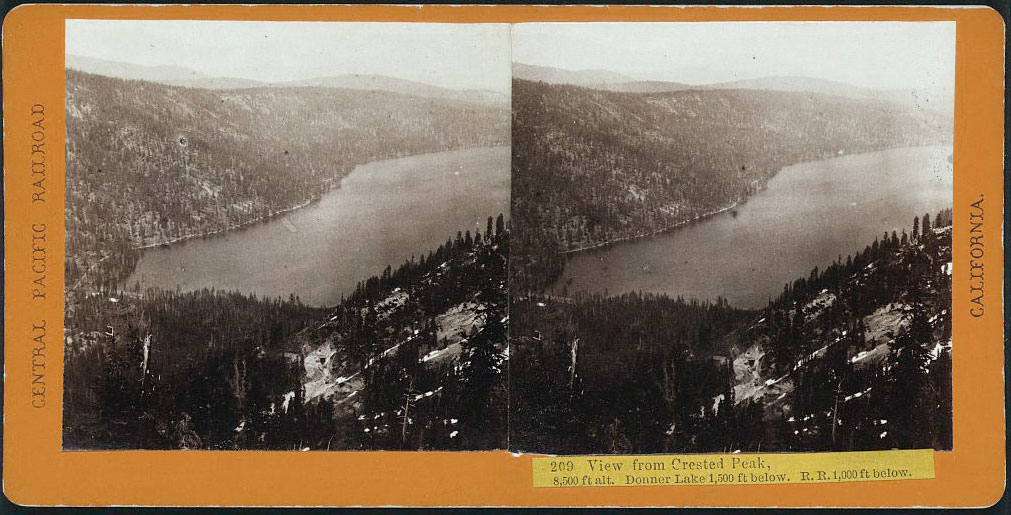 Watkins #209 - View from Crested Peak, 8,500 Altitude. Donner Lake and Railroad Line