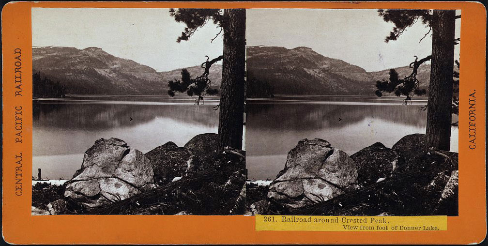 Watkins #261 - Railroad around Crested Peak. View from foot of Donner Lake