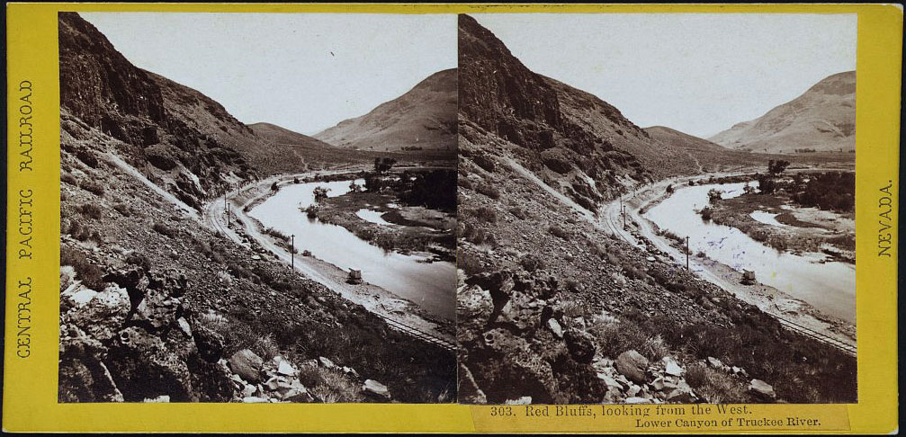 Watkins #303 - Red Bluffs, looking from the West. Lower Canyon of the Truckee River