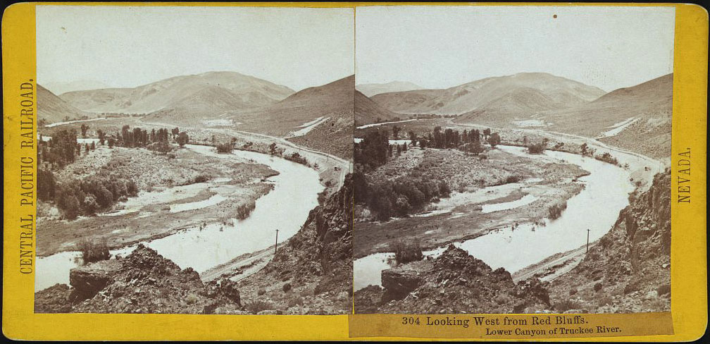 Watkins #304 - Looking West from Red Bluffs. Lower Canyon of Truckee River