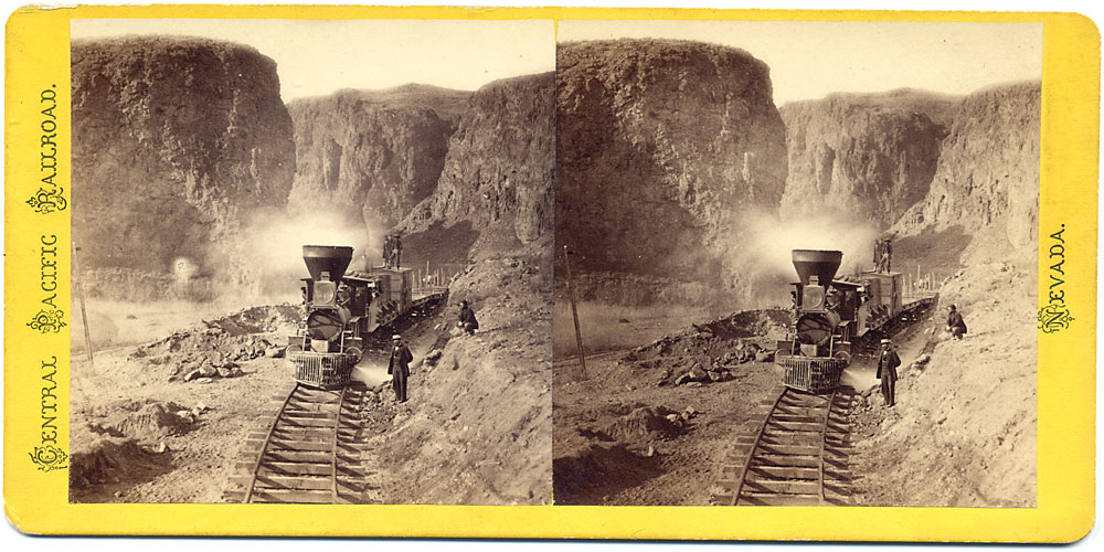Watkins #338 - First Construction Train passing the Palisades, Ten Mile Canyon