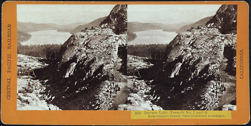 #203 - Donner Lake, Tunnels No 7 and 8, from Summit Tunnel. Eastern Summit in distance