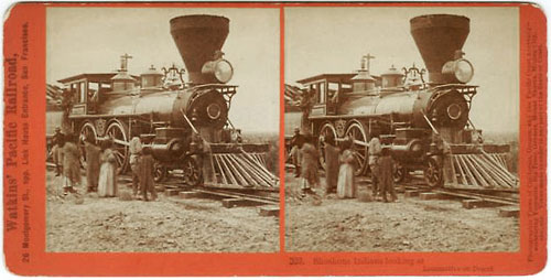 #323 - Shoshone Indians, looking at Locomotive