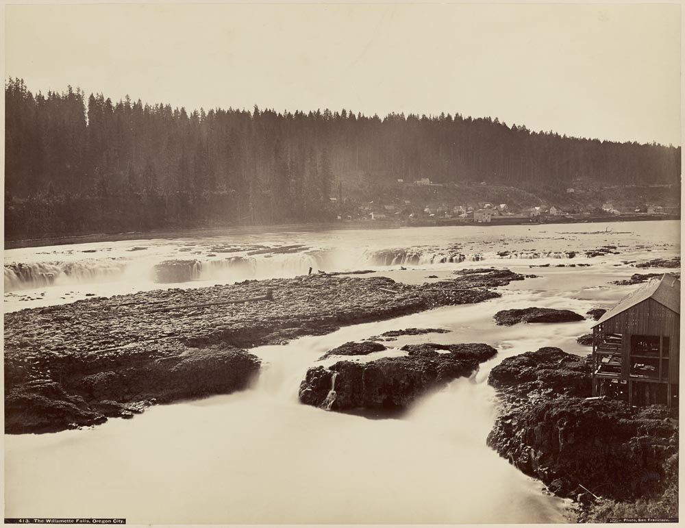 Watkins #413 - The Willamette Falls, Near View, Oregon City