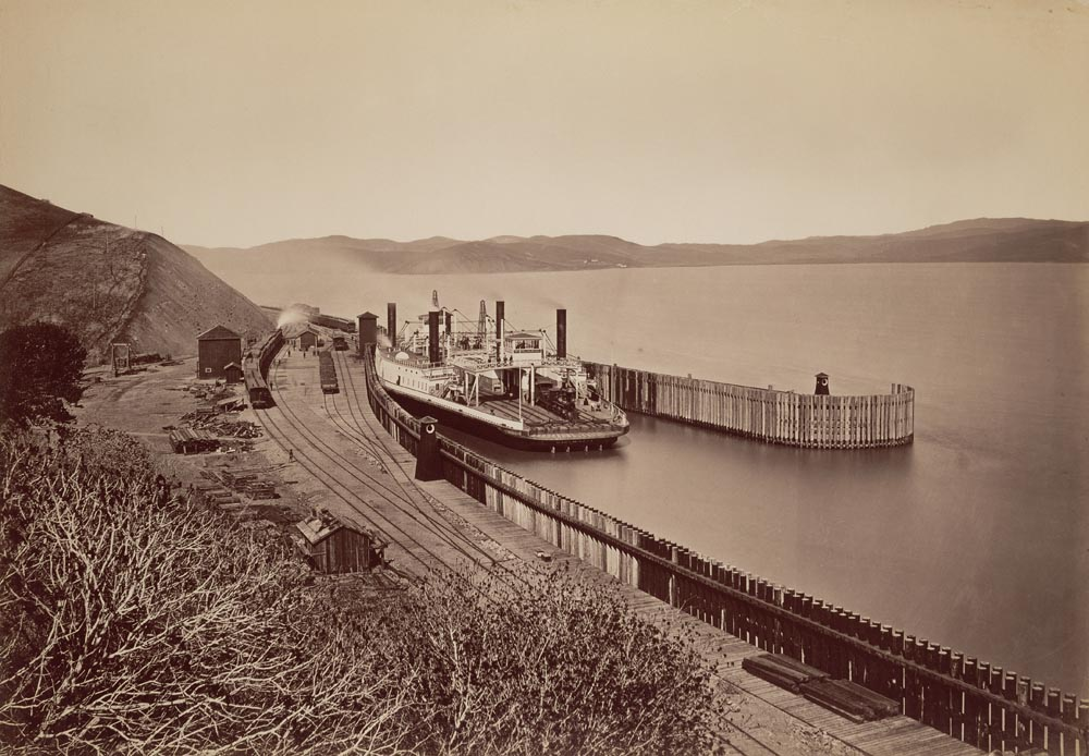 Watkins #681 - Central Pacific Railroad Waiting for the Train., Transfer Boat Solano, Port Costa, Solano Count