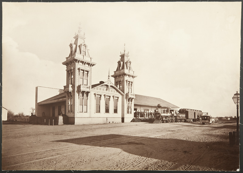 Watkins #1150 - Los Angeles and Independence Railroad Depot, Fifth and Alameda Streets, Los Angeles County