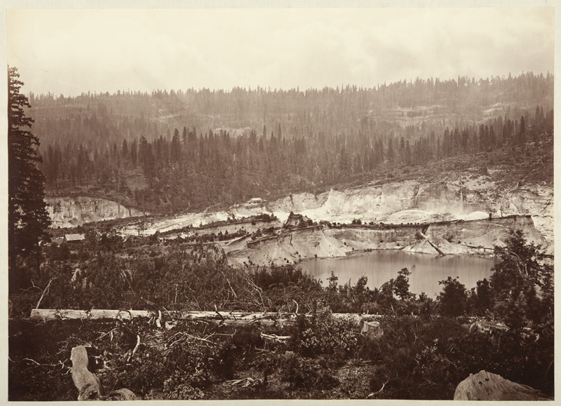 Watkins #515 - Malakoff Diggings from Colorado Hill, near North Bloomfield, Showing Water Playing against Gravel Banks, Nevada County
