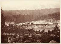 515 - Malakoff Diggings from Colorado Hill, near North Bloomfield, Showing Water Playing against Gravel Banks, Nevada County