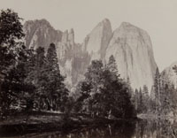 W9 - Cathedral Rock and Spires, - View from the Merced, Yosemite.